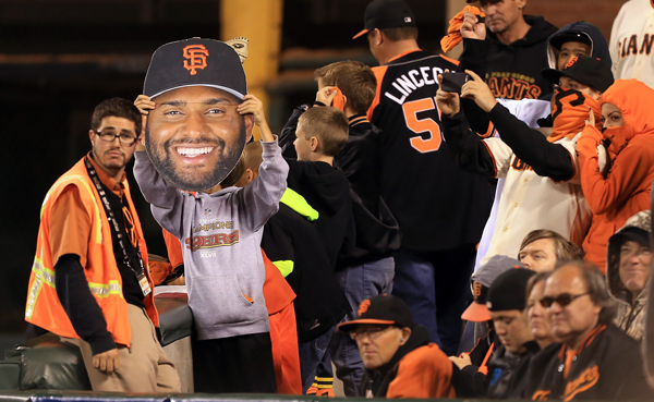 Pablo Sandoval made an appearance in the stands, Tuesday Oct. 7, 2014 during game 4 of the NLDS at AT&T Park in San Francisco. (Kent Porter / Press Democrat) 2014