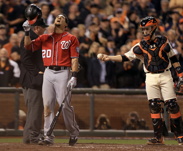 Ian Desmond was called out on strikes in the ninth inning, Tuesday Oct. 7, 2014 during game 4 of the NLDS at AT&T Park in San Francisco. (Kent Porter / Press Democrat) 2014