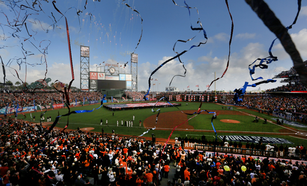 Pomp and circumstance prior to game 5 of the World Series in San Francisco, Sunday Oct. 26, 2014. (Kent Porter / Press Democrat) 2014