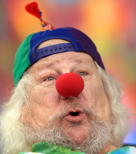 Wavy Gravy shows his true colors during his 79th birthday celebration during a concert to benefit the Zeva Foundation at the Sonoma Mountain Event Center in Rohnert Park, Sunday May 17, 2015.   (Kent Porter / Press Democrat) 2015