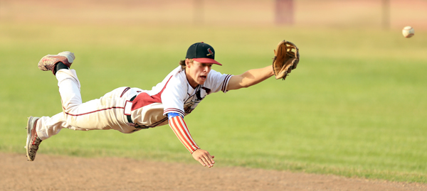 Clear Lake's  second baseman Jake Egger stretches out for a line drive that he couldn't quite reach during the Cardinals 7-3 loss to Head Royce in the semi-finals of the NCS Div5 finals in Lakeport, Wednseday June 3, 2015.  (Kent Porter / Press Democrat) 2015