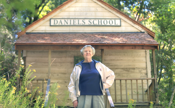 Florence Bates attended R.A. Daniels School off Mill Creek Road near Venado, west of Healdsburg,  in 1938.  The school had been in disrepair for years, but in the past few years, restoration has begun to preserve the old  school, Monday June 22, 2015. (Kent Porter / Press Democrat) 2015