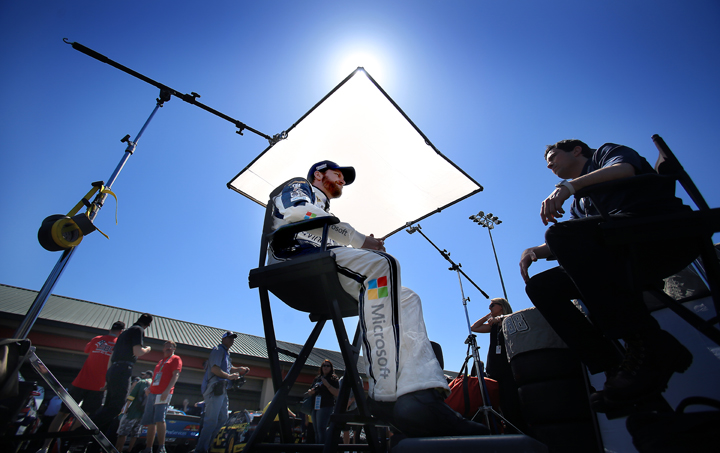 Dale Earnhardt Jr. gives an interview prior to NASCAR practice for the Toyota / Savemart 350 at Sonoma Raceway in Sonoma, Friday June 26, 2015. (Kent Porter / Press Democrat) 2015