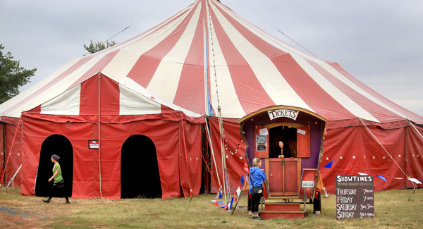 Flynn Creek Circus of Mendocino has set up shop under threatening skies even though it's the middle of summer, in Sonoma County, Thursday July 9, 2015. (Kent Porter / Press Democrat) 2015