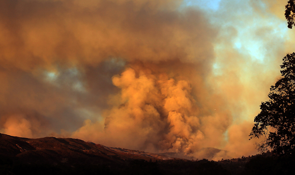 The Rocky Fire explodes at Sunset just outside Lower Lake, Wednesday July 29, 2015. (Kent Porter / Press Democrat) 2015
