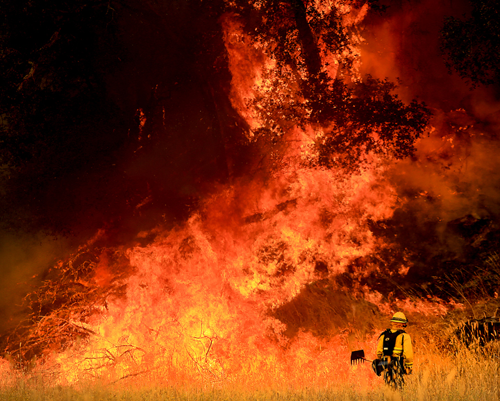 A Windsor firefighter faces down backfire off Morgan Valley Road on the Rocky Fire, Thursday July 30, 2015 near Lower Lake. (Kent Porter / Press Democrat) 2015