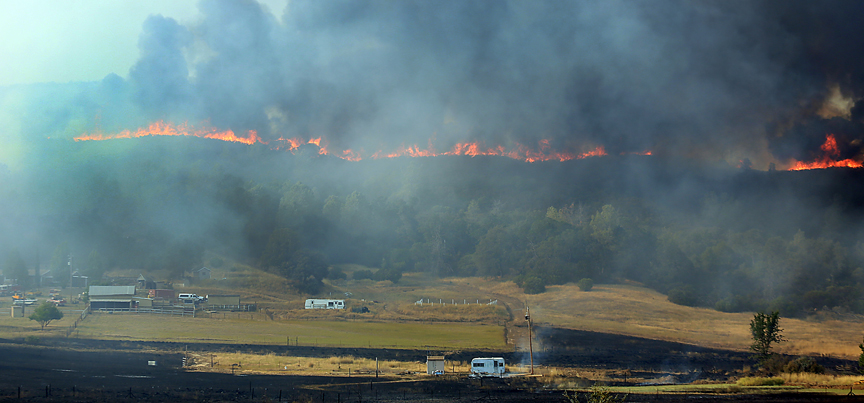 The Rocky fire threatens the Antonia Ranch, Thursday July 30, 2015 off Morgan Valley Road near Lower Lake. (Kent Porter / Press Democrat) 2015