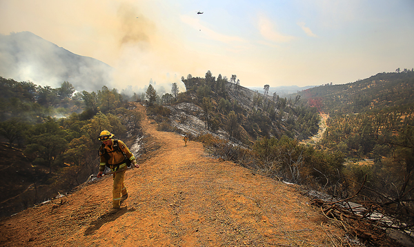 Kyle Sechland of Cal Fire climbs a wide fire break, Monday Aug. 10, 2015 as he looks for hot spots on the Jerusalem fire.  (Kent Porter / Press Democrat) 2015
