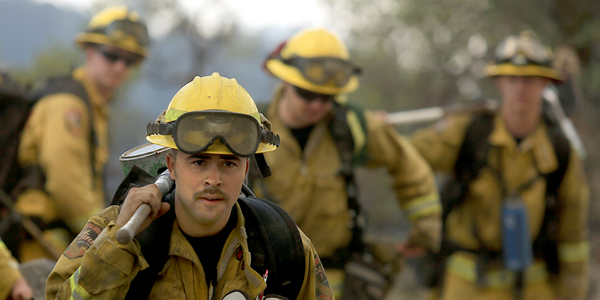 Cal Fire firefighters  prepare to work on the Jerusalem fire in Lake County, Monday Aug. 10, 2015.  (Kent Porter / Press Democrat) 2015