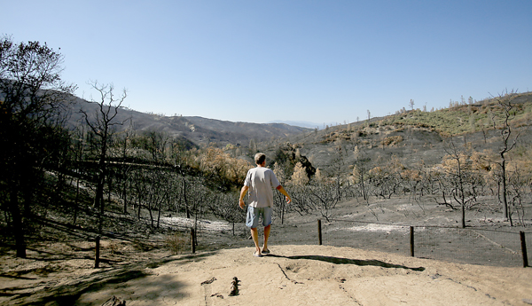 A charred landscape is all that remains of Bill Hilbrandie's homestead, destroyed by the Rocky Fire in Lake County, Tuesday Sept. 1,  2015.  (Kent Porter / Press Democrat) 2015