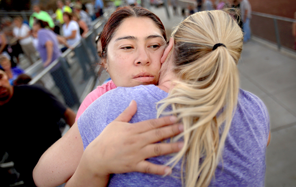 Maria Fonseca, left and Tanya Drew both lost their homes to the Valley fire, Thursday Sept. 24, 2015.  (Kent Porter / Press Democrat) 2015