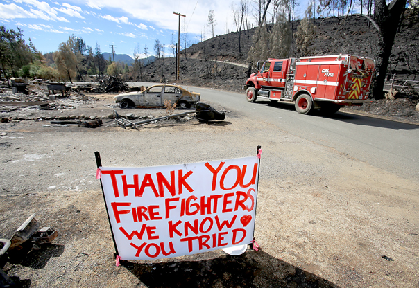 The Valley fire's destructive path through Middletown, Thursday Sept. 24, 2015.  (Kent Porter / Press Democrat) 2015