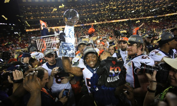 The Broncos Danny Trevathan celebrates Denvers victory of the the Carolina Panthers during Super Bowl 50, Sunday Feb. 7, 2016 at Levi's Stadium in Santa Clara.  (Kent Porter / Press Democrat ) 2016
