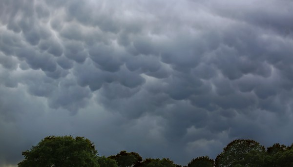 Mammatus clouds, a sign of a dying thunderstorm  overTaylor Mountain Regional Park and Open Space Preserve Monday March 28, 2016. (Kent Porter / Press Democrat) 2016