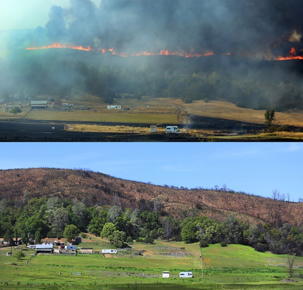 The Rocky fire threatens a ranch in July 2015.  On April 15, 2016 a barren hillside and remains. (Kent Porter / Press Democrat) 2016