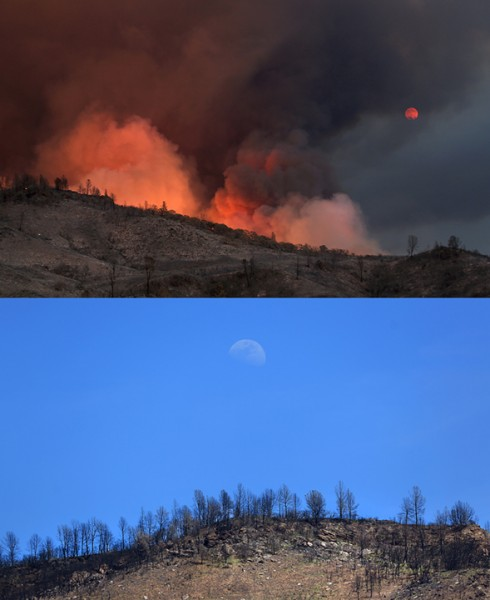 The full moon rises above the Rocky fire in July 2015.  Last week, a waxing gibbus moon. (Kent Porter / Press Democrat) 2016