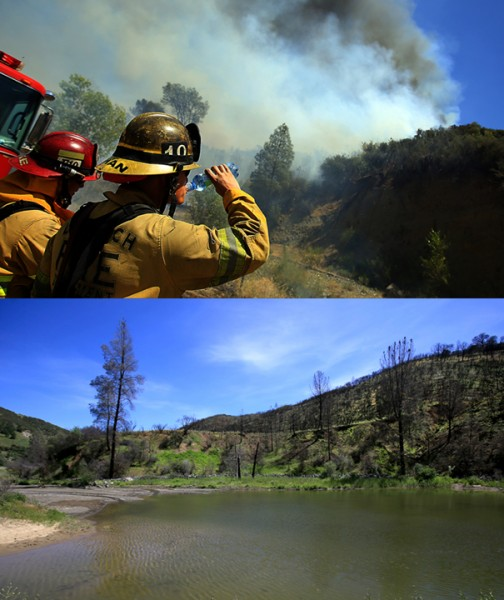 No water in Cache Creek along Highway 20 meant less of a natural firebreak in August 2015.  On April 15, 2016,  Winter rains at least partially hydrated the creek. (Kent Porter / Press Democrat) 2016.