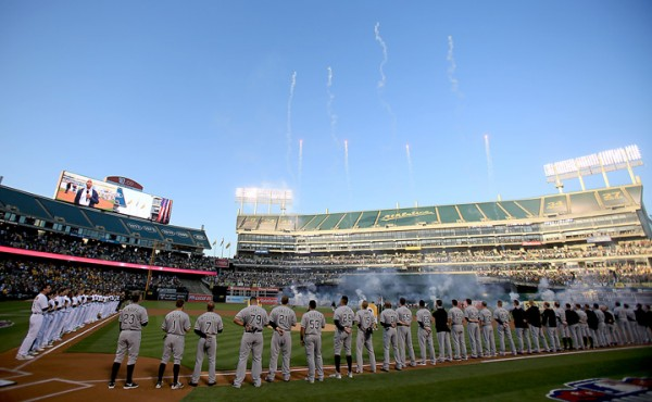 Daytime fireworks punctuate opening day festivities between the Oakland A's and the Chicago White Sox, Monday April 4, 2016. (Kent Porter / Press Democrat ) 2016