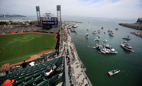 From the upper deck at At&T Park overlooking McCovey Cove during the Giants home opener, Thursday April 7, 2016. (Kent Porter / Press Democrat) 2016