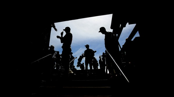 After Batting practice prior to the Giants home opener against the Dodgers at AT&;T Park in San Francisco, players head to the clubhouse, Thursday April April 7, 2016. (Kent Porter / Press Democrat ) 2016