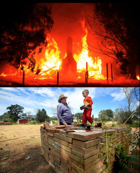 On September 13, 2015 the Bennett home is engulfed as the Valley fire rages. Below, Bo Bennett and his grandson Eli, 4, have a discussion about bricks, Monday Aug. 29, 2016, salvaged from the chimney of the Bennett house in Middletown, some of the only remnants of the house that was razed during the Valley fire. The Bennett family intends to rebuild. (Kent Porter / The Press Democrat) 2016
