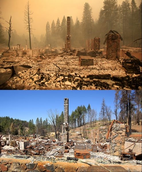 Hoberg's Resort is one of the last places in the Valley fire zone in need of debris removal, upper photo is from Sept. 13, 2015 and lower photo is from August 29, 2016. (Kent Porter / Press Democrat) 2016