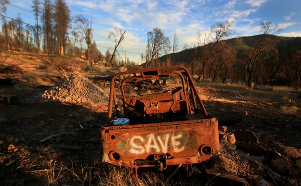 Beside the charred landscape and scorched trees, few remnants remain of the Valley fire, Tuesday Aug. 30, 2016 in Cobb. (Kent Porter / The Press Democrat) 2016
