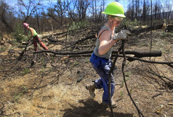 Hidden Valley resident Bonnie Bishop, 55, lost her home off Noble Ranch Road to the Valley fire, which is now being rebuilt. Now she is part of a crew that is clearing charred trees in danger of falling at the Middletown Trailside Nature Preserve and EcoArts Park, Friday Sept. 2, 2016. At left is Cristina Clarke, also of Hidden Valley. (Kent Porter / The Press Democrat) 2016