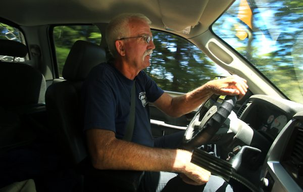 Fire Chief Steve Baxman, 46-year volunteer with Monte Rio Fire, drives the narrow slot canyon roads in the Russian River District. Baxman is worried about wildland fires in the area, many of the roads are narrow, and homes dot the terraces in thick forested and brush covered hillsides. (Kent Porter / Press Democrat) 2016
