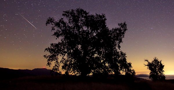 The Perseid meteor shower above Geysers Road in Geyserville, Friday morning August 12, 2016. (Kent Porter / Press Democrat) 2016
