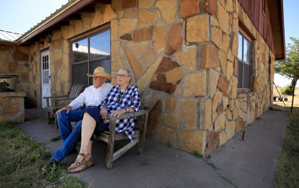 Peggy and Bob Walker enjoy a mild west Texas day, May 19, 2017 in Saragosa, 30 years after a tornado demolished their home. (© Kent Porter)